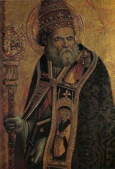 Carlo Crivelli - San Silvestro (Polittico di Massa Fermana) - 1468 - Chiesa dei Santi Lorenzo e Silvestro a Massa Fermana (Fermo,  Marche)