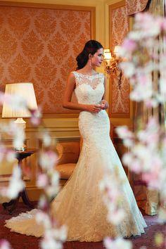 Precioso traje de novia Wedding Dresses Scoop Trumpet/Mermaid Chapel Train With Applique And Beads Tulle