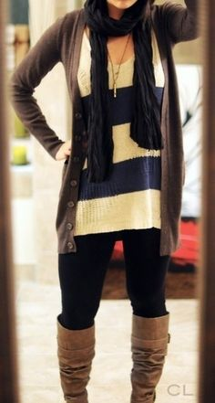 black leggings, over sized sweater, cardigan, scarf and brown boots #style