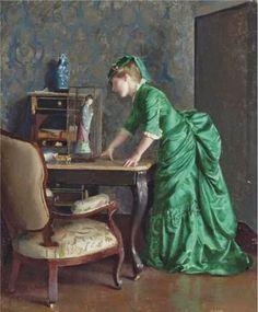 William McGregor Paxton - The Green Dress