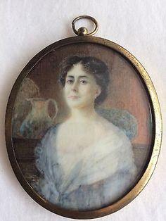 Antique Original Miniature of Mrs Alec Tweedie Portrait Painting Signed EK Ellis