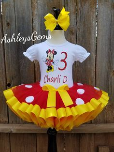 Minnie Mouse Birthday Outfit Minnie Mouse Dress Minnie Mouse Minnie Mouse Birthday Outfit, Minnie Dress, Birthday Tutu, Baby Tutu Tutorial, Yellow Tutu, Princess Tutu Dresses, Ribbon Tutu, Tutu Outfits, Girls Party Dress