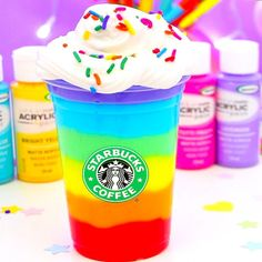 DIY Rainbow Slime I just uploaded a super fun and bright DIY Slime video! I'm so obsessed with slime Fruit Slime, Slimy Slime, Rainbow Snacks, Rainbow Slime, Starbucks Slime, Starbucks Drinks, Gillian Bower, Cool Slime Recipes, Pretty Slime