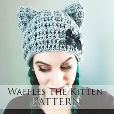 Waffles the Kitten is a super fun, quick working beanie for people of all ages. Pattern includes a sizing chart for newborn through adult large. Pattern is for hat only, add buttons, bows, and other trimmings as you desire. Waffles is open to all manner of styles!