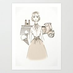 Art Print. Illustration from the movie Roman Holiday