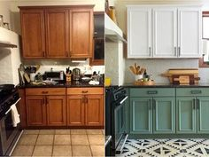 DIY Kitchen Makeover Upcycle Ideas - 21 Ideas to Try - Upcycle My Stuff - - 21 fun DIY Kitchen Makeover Upcycling Ideas from cutlery hooks to backsplashs, with links to How to Guides for painted cabinet doors and upcycled wall art. Diy Kitchen Cabinets, Kitchen Redo, Home Decor Kitchen, New Kitchen, Home Kitchens, Kitchen Dining, Colorful Kitchen Cabinets, Green Cabinets, Updated Kitchen