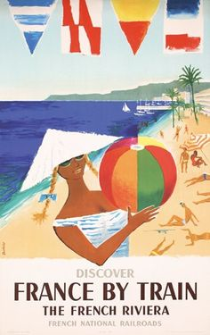 France By Train - The French Riviera Vintage Travel Poster 1957 by Fred Dubois