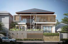 3 Storey Balinese Tropical Resort House for Mrs Regina Jakarta - Jasa Arsitek jakarta Modern Tropical House, Tropical House Design, Tropical Houses, Modern House Design, Craftsman Bungalow Exterior, Craftsman Bungalows, Facade Design, Exterior Design, Modern Architecture House