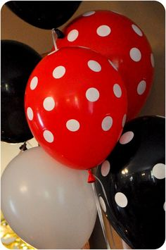 Balloons!!! ****Add dots! And other great Mickey/Minnie Mouse party ideas!