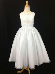 Christie Helene Holy Communion Dress - Angel Collection - UF1191 - Satin Ballerina Length Crystal Bodice Pleated Waistband - Christie Helene Communion Dresses