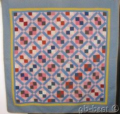 Country-Home-1900s-PA-Four-Patch-LATTICE-Antique-Quilt-BLUE-Pink-83-x-82