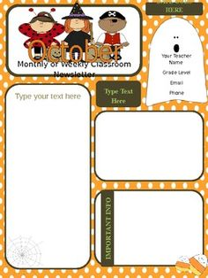 October Clroom Newsletter Template on