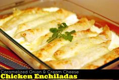 Print PDF Break out your stretchy pants! These enchiladas are a cinch to throw together and are decadently delicious! We have been making them for YEARS and they are a family favorite for sure!  Caramelized Onion and Cream Cheese Chicken Enchilidas Save Recipe Print Recipe My Recipes My Lists My Calendar Ingredients2 onions, thinly …