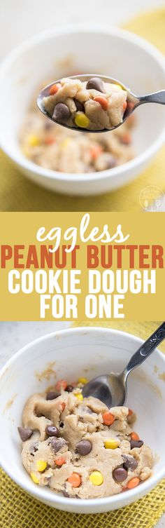 Eggless peanut butter chocolate chip cookie dough for one