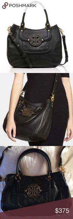 NWOT Tory Burch Amanda Crossbody Black Hobo Bought this as a gift for my mom but she never used it. She asked me to list it for her. Comes with the dust bag. In new condition stored in dust bag. Purchased for $485 retail. Tory Burch Bags Crossbody Bags