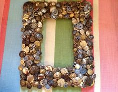 Antique Buttons Crafted Into Picture Frame