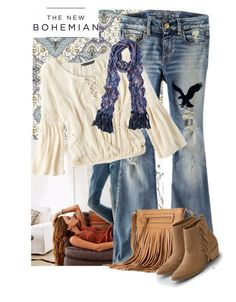 """AEO denim flare jeans"" by ladygroovenyc ❤ liked on Polyvore featuring American Eagle Outfitters, Apt. 9, contest, Bohemian, bohochic, contestentry and aeostyle"