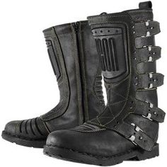 Icon One Thousand Elsinore Men's Leather Street Racing Motorcycle Boots - Black / Size 8.5. $245.00  These are bitchin!