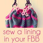 sew a lining in your Fat Bottom Bag | a creative being - the bag is a big granny square - the blog not only gives sewing directions for a lining but provides a link to the FREE crochet pattern