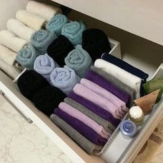 Japanese folding hack. Never stack towels, fold and place in drawer vertically.
