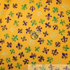 BonEful Fabric FQ Cotton Quilt Yellow Purple Green Fleur De Lis Gold Metallic US #AndoverFabrics