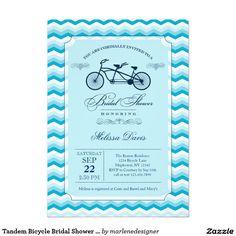 Simple bridal shower tandem bike blue card simple bridal shower tandem bicycle bridal shower invitation filmwisefo Choice Image