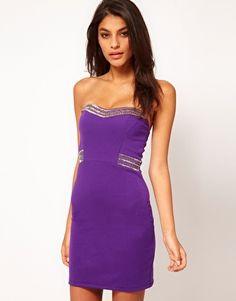 TFNC Bandeau Body-Conscious Dress with Embellishment