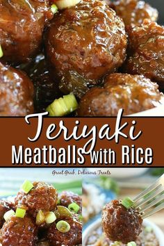Teriyaki Meatballs with Rice are cooked in a sweet and savory sauce that gives these meatballs delicious flavor. Teriyaki Meatballs with Rice are cooked in a sweet and savory sauce that gives these meatballs delicious flavor. Meatballs And Rice, Teriyaki Meatballs, Appetizer Meatballs Crockpot, Recipes With Meatballs, Chinese Meatballs, Frozen Meatball Recipes, Swedish Meatball Recipes, Dinner With Meatballs, Sauce For Meatballs Easy