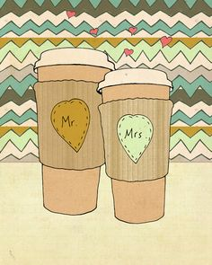Whole Latte Love // Personalized, Custom Valentines, Wedding Gift, Anniversary Gift, Digital, Giclee, Pattern