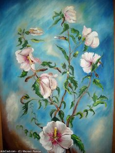 Artwork >> Mazouz Patrice >> 'Hibiscus' H / wooden door decoration #artwork, #hibiscus, #flowers  #oil, #painting, #masterpiece, #nature