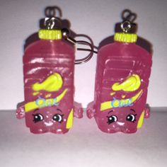 Shopkins Foodie Earrings Olivia Oil glitter made with by ErinEtc