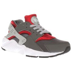 Nike Grey Huarache Run Boys Youth Got a mini sneakerhead on your hands? Allow Nike to sort them out with the Huarache Run as it arrives for kids. Dressed in grey, this man-made trainer features mesh details and red accents for a sport http://www.MightGet.com/january-2017-13/nike-grey-huarache-run-boys-youth.asp