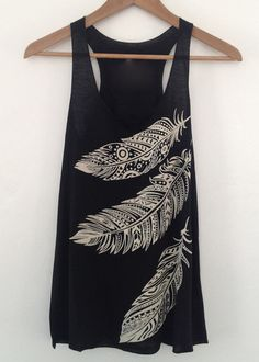 feather black tank top