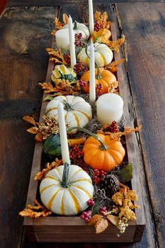 rustic centerpiece pumpkins More