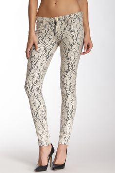 7For All Mankind lace skinny jeans