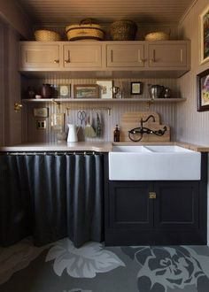 Ready for some inspo? Scroll ahead for 14 modern ways to incorporate cabinet curtains into your kitchen remodel today. #hunkerhome #kitchencabinet #kitchencabinetideas #cabinetideas #skirtedcabinets Cabinets To Go, Kitchen Cabinets, Kitchen Renovation Inspiration, English Kitchens, All White Kitchen, Low Cabinet, Butcher Block Countertops, Dark Interiors, Farmhouse Style Kitchen