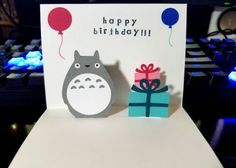 Totoro Card - Pop Up Card - Totoro Birthday Card Birthday Card Pop Up, Birthday Cards For Women, Birthday Greetings, Happy Birthday, Totoro, Kids Cards, Baby Cards, Pop Out Cards, Kinder Valentines