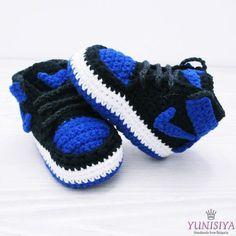 Blue Baby Booties Crochet Baby Shoes Air Jordan Baby by Yunisiya