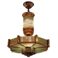 Original Art Deco Chandelier by Petitot | From a unique collection of antique and modern chandeliers and pendants  at http://www.1stdibs.com/furniture/lighting/chandeliers-pendant-lights/