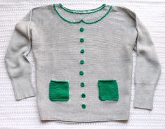 one sheepish girl: Sweater Makeover - New Collar, Crochet Buttons, and Knit Pockets
