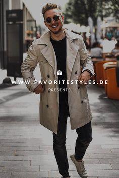 Erfahre welche Teile dazu passen! Casual Outfit für Männer. Lässiges Outfit in schwarz mit Jeanshose, Rundhalspullover, Sneaker und Trenchcoat. Männeroutfit im legeren Stil, passend für die Freizeit im Frühling. Outfits für Männer mit passenden Teilen bei Favorite Styles. #favoritestyles #mode #fashion #outfit #männer #herren #style #stil #männermode #herrenmode #mensoutfit #mensfashion #ideen #inspiration #casual #chic #elegant #lässig #freizeit #schwarz #beige #trenchcoat