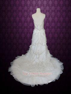 Strapless Crystal Slim A-line Wedding Dress with Rufffles | Mezz