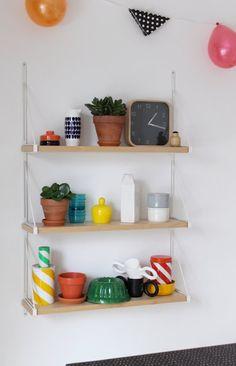 kitchen shelving, cute colors