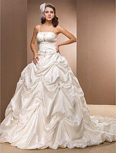 bola+vestido+correas+de+espagueti+vestido+de+boda+del+tren+d...+–+CLP+$+89.443