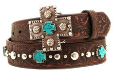 Ariat Western Womens Belt Leather Studs Turquoise Cross Concho  Brown A1517802 #Ariat