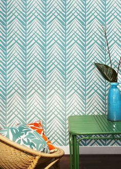Nobilis Cosmopolitan palm print wallpaper in turquoise. Decor, Wall Decor, Interior, Pattern Wallpaper, Stencils Wall, Print Wallpaper, Wall Stencil Patterns, Wall Coverings, Home Wallpaper