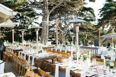 wedding venue patio surrounded by strings and heated with heat lamps