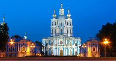 the Smolny Convent shines delicately in the night, a true jewel of St. Peterburg's architecture: