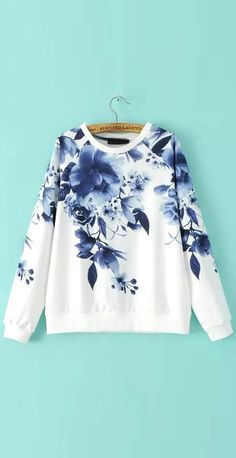 Love the floral pattern in this sweatshirt.