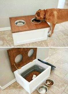 Top 27 DIY Ideas How to Make a Perfect Living Space for Pets DIY Dog Food Station with Storage underneath. Top 27 DIY Ideas How to Make a Perfect Living Space for Pets DIY Dog Food Station with Storage underneath. Diy Pet, Dog Feeding Station, Dog Station, Diy Home Decor For Apartments, Diy House Decor, Apartment Ideas, Diy Home Decor On A Budget, Diy Ideas For Home, Bedroom Apartment